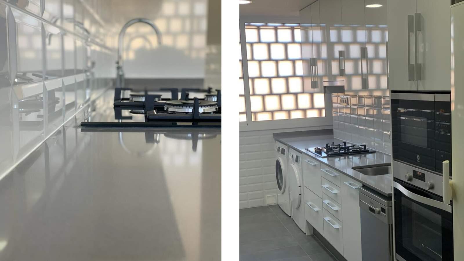 Reforma integral cocina blanco y gris Barcelona