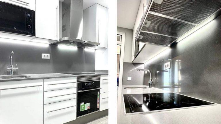 Reforma integral cocina blanco y negro Barcelona