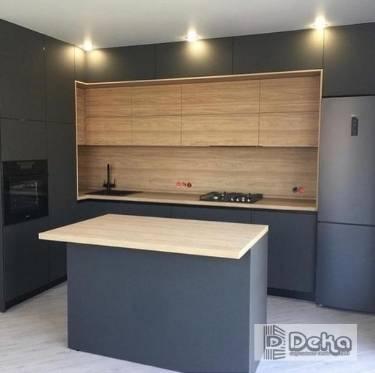 Cocinas con isla Bcn madera y gris